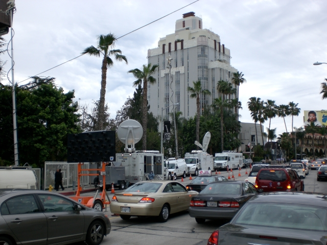Satellite uplinks at the Vanity Fair party at the Sunset Tower