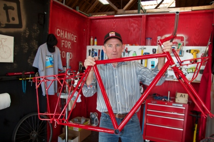 Custom built SoulCraft frame w/matching rack and red powder coat.